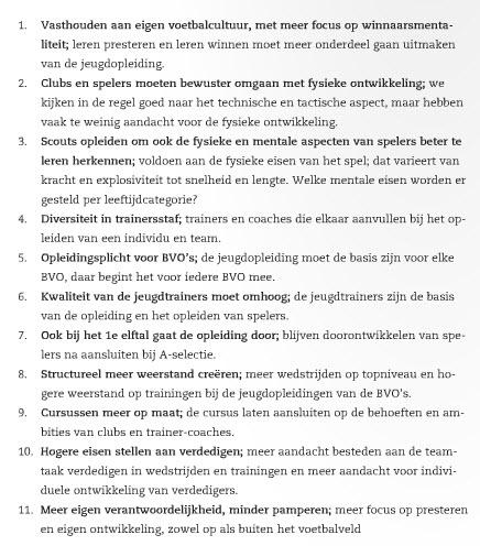 De 11 speerpunten van de KNVB