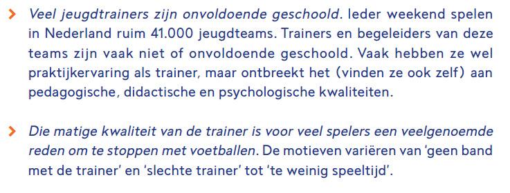 matige kwaliteit van de trainers