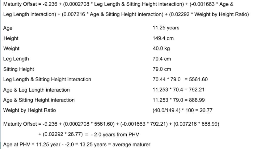 Met deze formule kan berekend worden hoe ver een kind is in zijn groei (of de hoogste groeisnelheid al is bereikt PHV). En dus ook hoe ver een kind is in zijn biologische ontwikkeling. Een snellere methode is om op deze site je lengtes, geboortedatum en gewicht in te vullen.